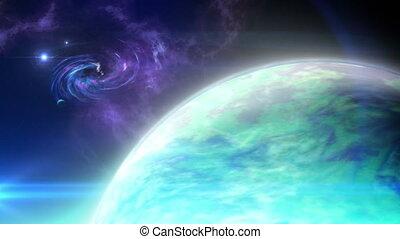 loin, planète, boucle