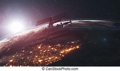 lointain, atmosphère, tourner, iss, exploration, la terre