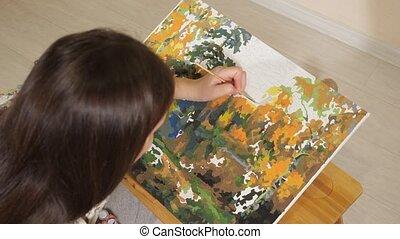 loisir, dessine, femme, jeune, image, nombre