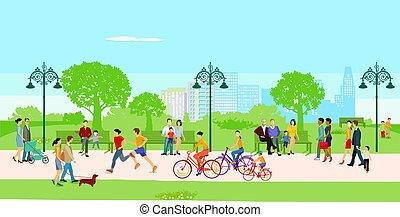 loisir, parc ville, illustration.eps, gens