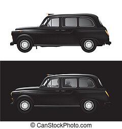 londres, symbole, taxi noir, -, taxi