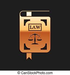 long, arrière-plan., balances, droit & loi, ombre, statut, livre, or, style., isolé, noir, icône, vecteur, justice