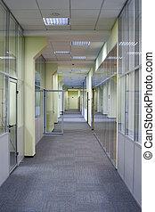 long, bureau, couloir