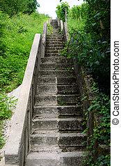 long, escalier, colline