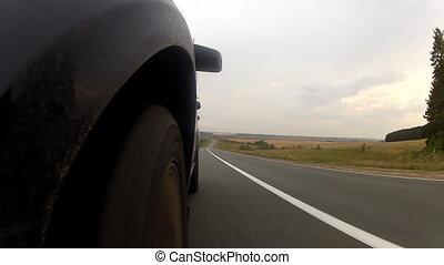 long, forêt, conduite, autoroute