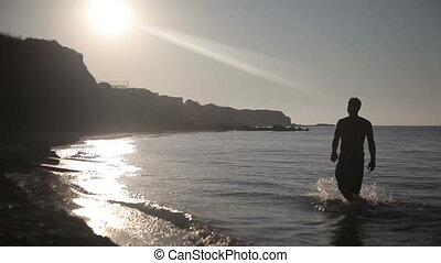 long, homme, rivage, promenades