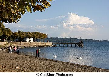 long, -, lac, loisir, promenade