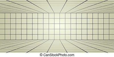 long, lignes, salle, illustration
