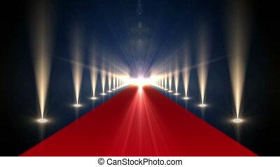 long, moquette rouge, projecteurs