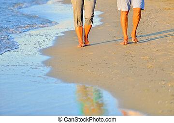 long, plage, gros plan, couple, romantique