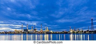 long, raffinerie, bangkok, rivière, plante, huile