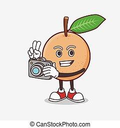 longan, action, appareil photo, fruit, photographe, mascotte, dessin animé, caractère