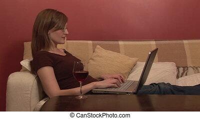 longueur courante, délassant, femme, informatique