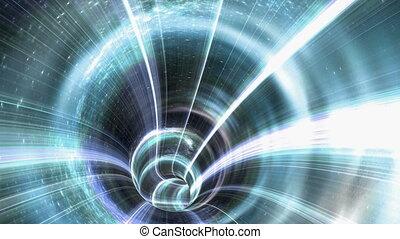 loop-able, 4k, tunnel, trou ver, space., animé, par