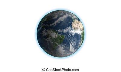 loop., cadre, centré, globe, blanc, seamless, tourner, réaliste, la terre, rotation, correct, boucle