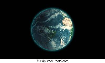 loop., cadre, centré, globe, seamless, tourner, réaliste, arrière-plan noir, la terre, rotation, correct, boucle