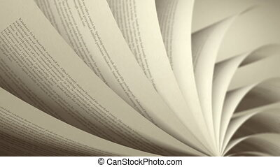 (loop), livre, tourner, pages, anglaise