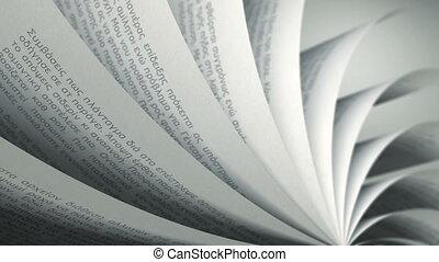 (loop), livre, tourner, pages, grec