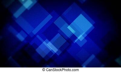 loopable, carrés, backgr, bleu, en mouvement