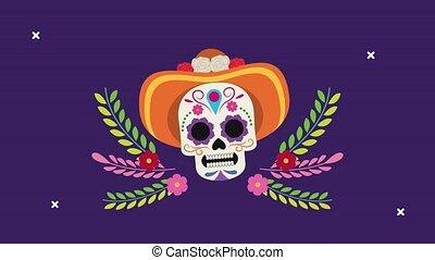 los, dia, porter, crâne, muertos, chapeau, célébration, de