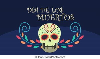 los, tête, dia, crâne, muertos, de, animation, lettrage