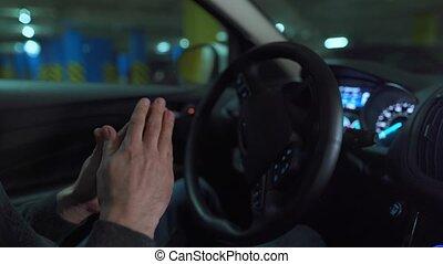 lot, self-parking, conduite, homme, voiture, innovateur, utilisation, stationnement, automatisé, autopilot