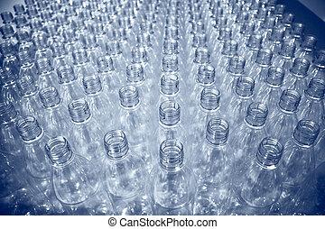 lotissements, bouteilles, plastique