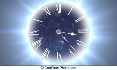 lotissements, particules, horloge, jeûne, time., en mouvement, espace