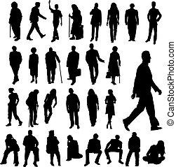 lotissements, silhouettes, gens
