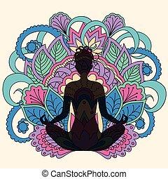 lotus, fille noire, yoga, fond