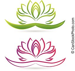 lotus, logo, fleur, vecteur