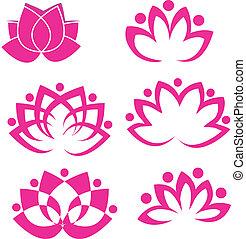 lotus, logo, fleurs, ensemble, vecteur