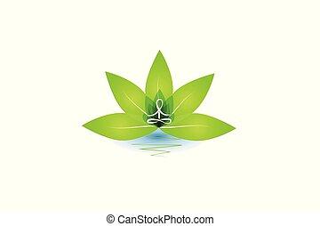 lotus, logo, homme yoga