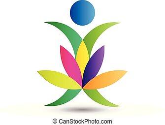 lotus, logo, vecteur, yoga, figure