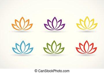 lotus, logos, vecteur, ensemble, fleur