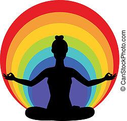 lotus, positio, femme, yoga, séance