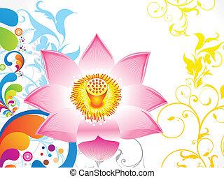 lotus, résumé, fleur, coloré