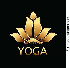 lotus, vecteur, fleur, yoga, or