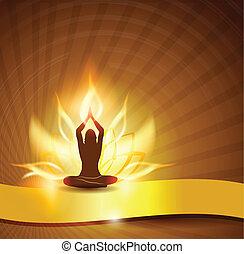 lotus, yoga, fleur, -fire
