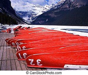 louise, canada., canoës, lac