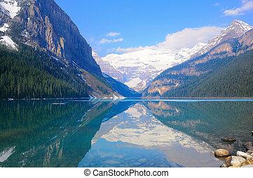 louise, lac, park., national, banff