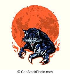 loup-garou, fâché, vecteur, lune