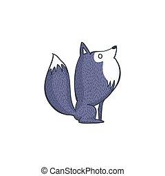 loup gris, dessin animé, caractère