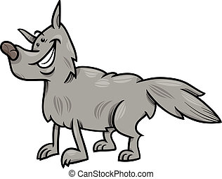loup gris, dessin animé, illustration, animal