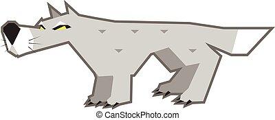 loup, gris, fâché