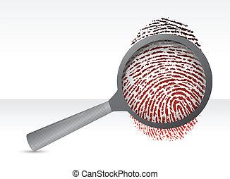 loupe, détectives, empreinte doigt
