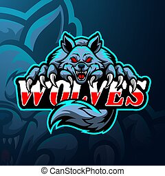 loups, conception, logo, mascotte, esport