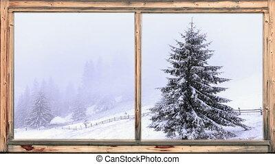 lourd, boisé, neige, tomber, secteur