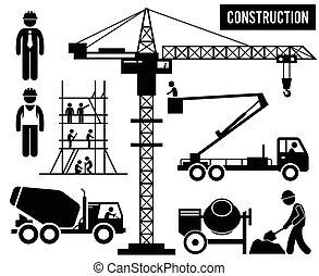 lourd, construction, pictogramme