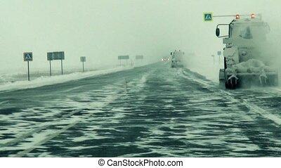lourd, fédéral, dangereux, vidéo, snowfall., chasse-neige, pendant, route, autoroute